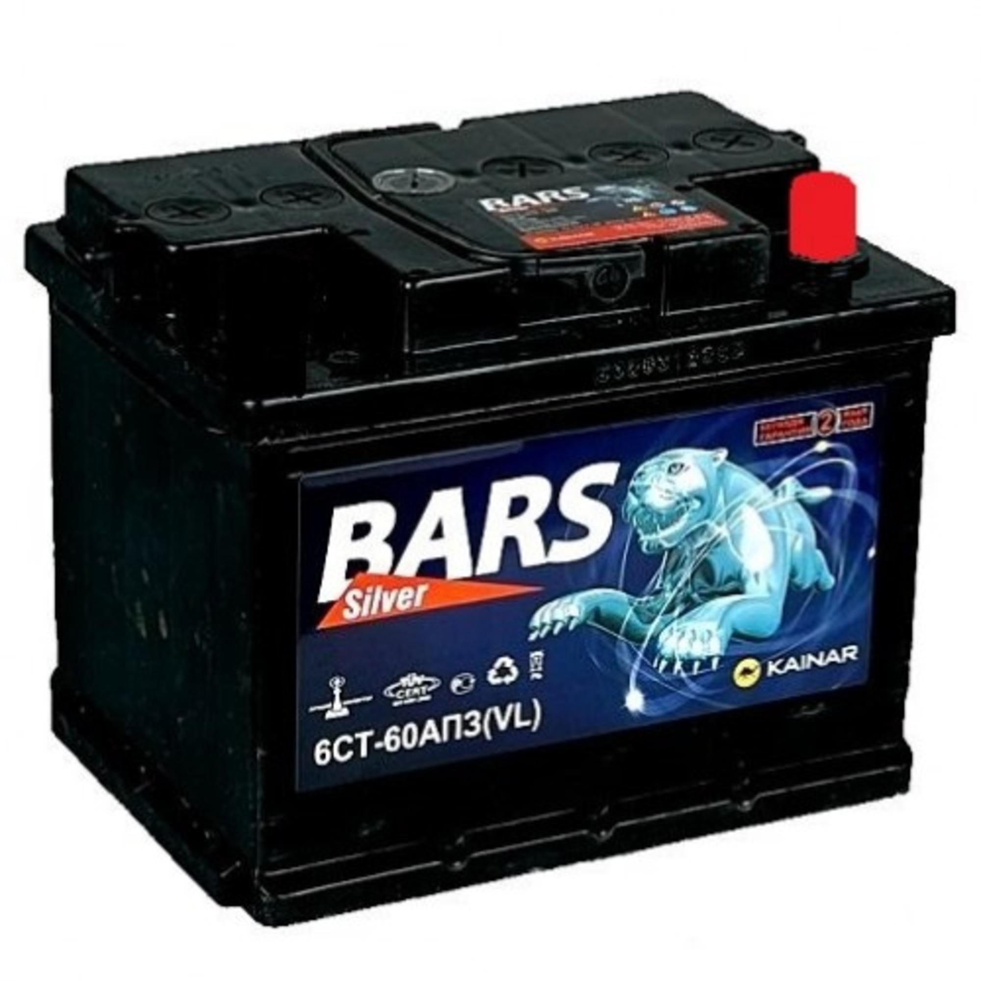 Аккумулятор 60 - 6 СТ BARS SILVER о.п. низ. (АПЗ)